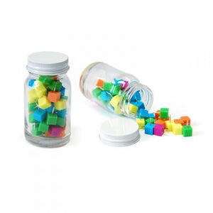 Cube Shape Push Pin in Glass Jar - abrandz