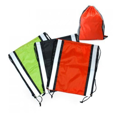 Drawstring Bag With Reflective Panel | AbrandZ.com