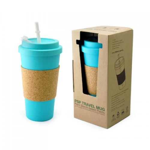 Eco Friendly Mug with Cork Sleeve with Straw
