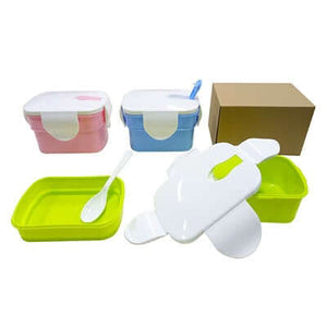2-Tier Rectangular Lunch Box with spoon - abrandz