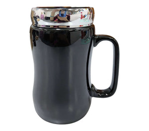 400ml Black Porcelain Mug with Silver Acrtlic Lid - abrandz