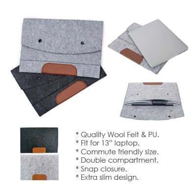 13'' Felt and PU Leather Ipad Tablet Sleeve