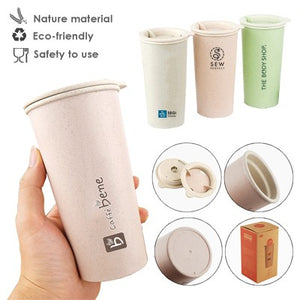 Eco-Wheat Natural Straw Tumbler - 400ml | AbrandZ Corporate Gifts Singapore