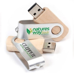Metal Swivel Wooden USB Flash Drive | AbrandZ Corporate Gifts Singapore