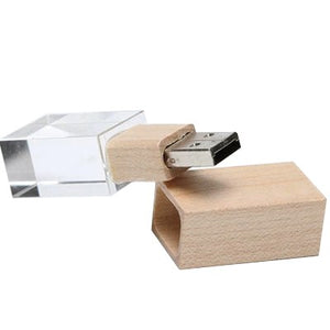 Wooden Crystal USB Drive with LED Light USB