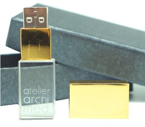 Gold Cap Crystal USB Drive with LED Light - abrandz