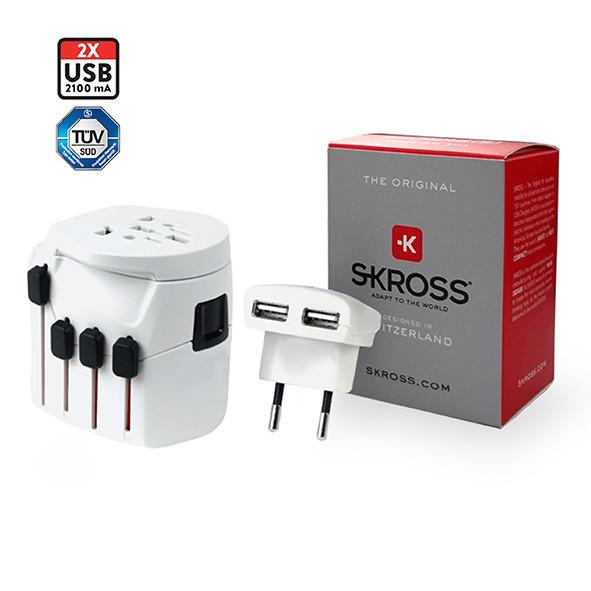 SKROSS Travel Adaptor PRO + USB