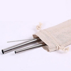 Eco Friendly Stainless Steel Straw Set in Canvas Pouch
