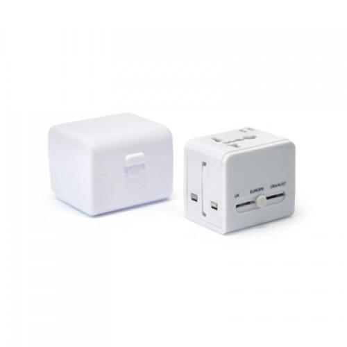 Worldwide Travel Adaptor With 2 USB Hub and Case