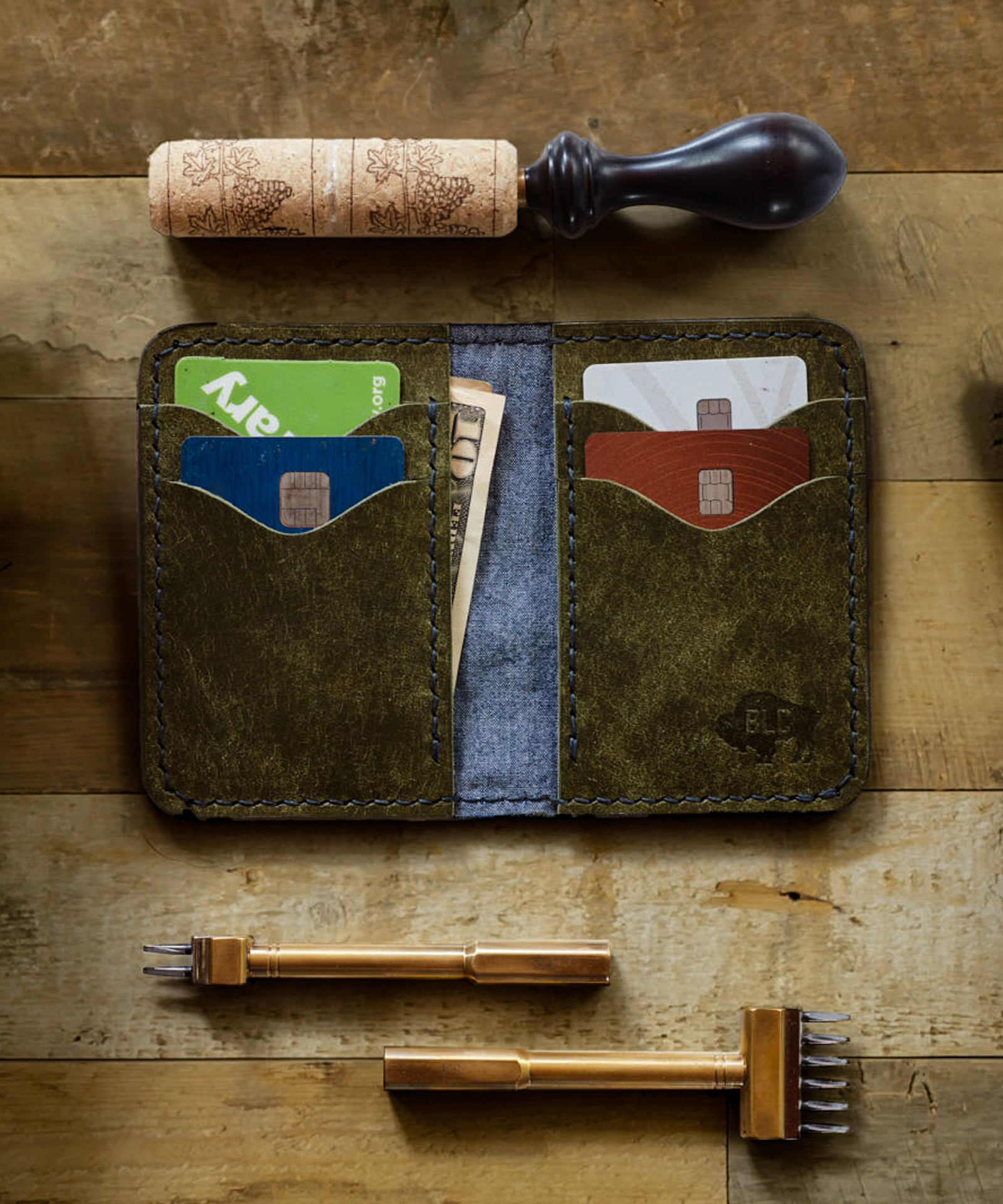 Olive Leather & Indigo Chambray Wallet