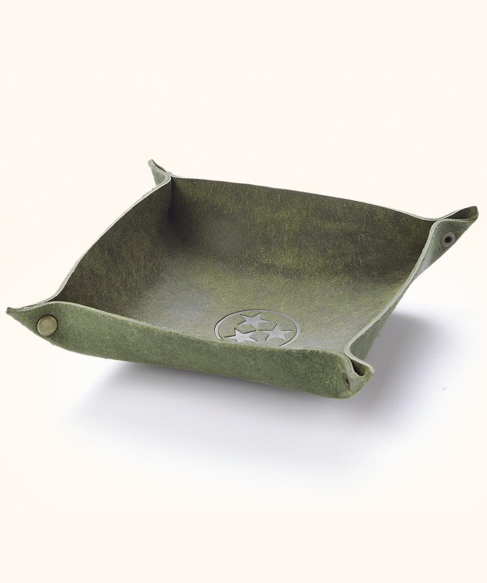 Olive Leather Catch All Tray