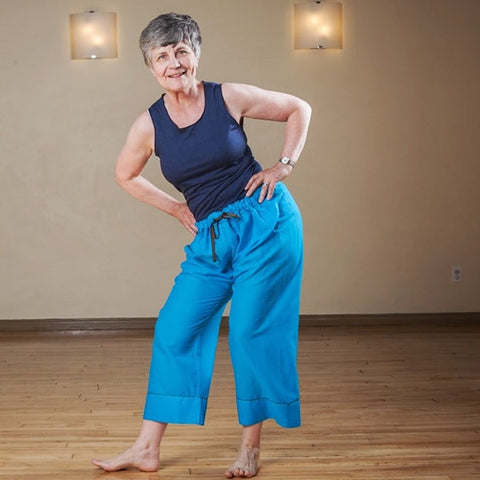 "Ananda Blue Length 1 Original Light Weight Dream Yoga Pants<br>Pictured here: Mary Walton-Ball at <a href=""http://www.estheryoga.com"" target=""_blank"">Esther Myers Yoga Studio </a>in Toronto, Canada<br>Photography credit: Taralea Cutler of <a href=""http://archive.eyecontact.ca/portfolio"" target=""_blank"">Eye Contact Photography, Toronto </a>"