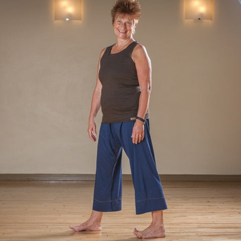 "Bamboo Dream Pants: Loose-Fitting Yoga Pants for Women in Navy, Length 1<br>Pictured here: Monica Voss of <a href=""http://www.estheryoga.com"" target=""_blank"">Esther Myers Yoga Studio </a>in Toronto, Canada<br>Photography credit: Taralea Cutler of <a href=""http://archive.eyecontact.ca/portfolio"" target=""_blank"">Eye Contact Photography, Toronto </a>"
