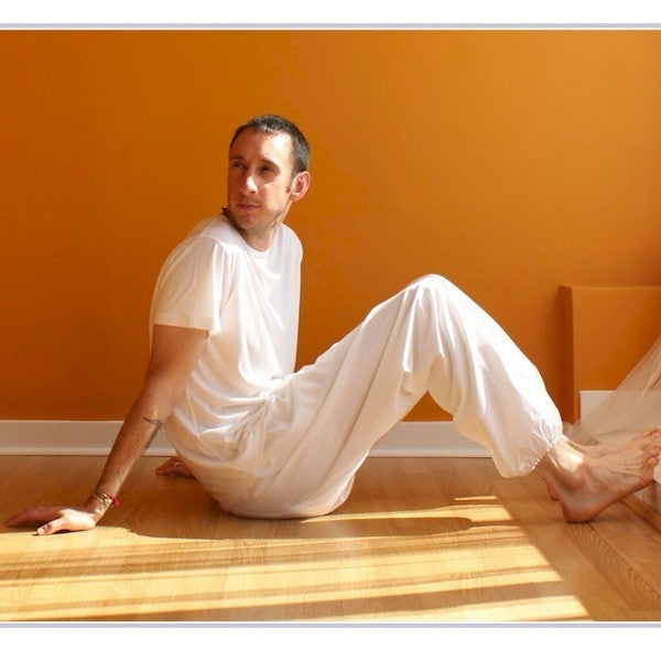 "Thicker Cotton Dream Pants: Loose-Fitting Yoga Pants for Men<br>Pictured here: Vasu of <a href=""http://www.yogaasitis.com"" target=""_blank"">Yoga As It Is Centre </a>in Newmarket, Ontario"