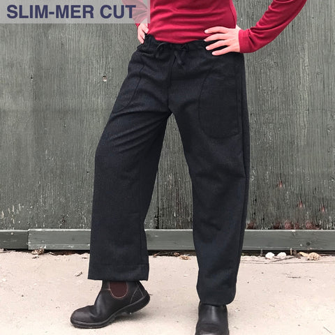 "Charcoal Woolen TROUSERS | SLIM-Cut, Length 1 | Model is 5'5.5"" or 166cm"