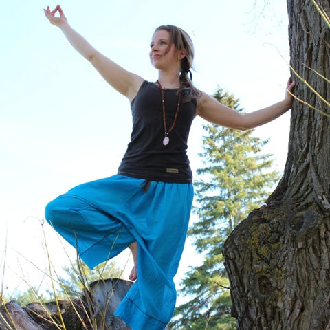 "Sky Blue Length 1 Original Light Weight Dream Yoga Pants<br>Pictured here: Emilie Closs of <a href=""http://www.yogaflowfitness.com"" target=""_blank"">Yoga Flow and Fitness </a>Bradford, Ontario"