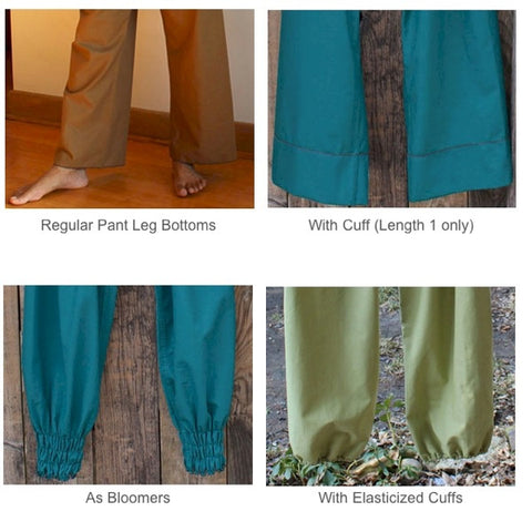 "Bottom Pantleg Choices<br>Please note, ""With Cuff"" is available in Length 1 only. (they make lovely capris if you are over 5'6"")"