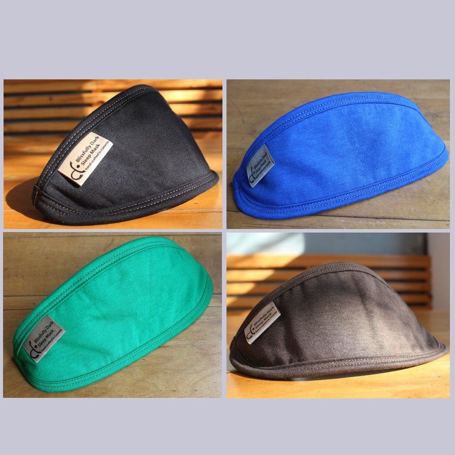Blissfully Dark Sleep Masks: Black, Royal Blue, Kelly Green and Chocolate Brown