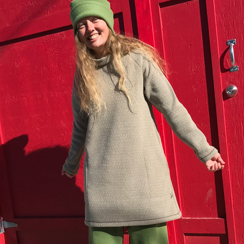Low-Collared Version of the Tunic in Miso. Also available in High-Collared and the colour Matcha (green)
