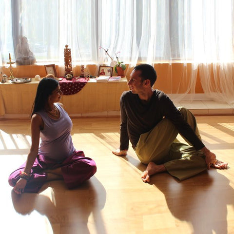 "Bamboo Long-Sleeved T-Shirts for Men<br>Pictured here: Aarti and Vasu of <a href=""http://www.yogaasitis.com"" target=""_blank"">Yoga As It Is Centre </a>in Newmarket, Ontario"