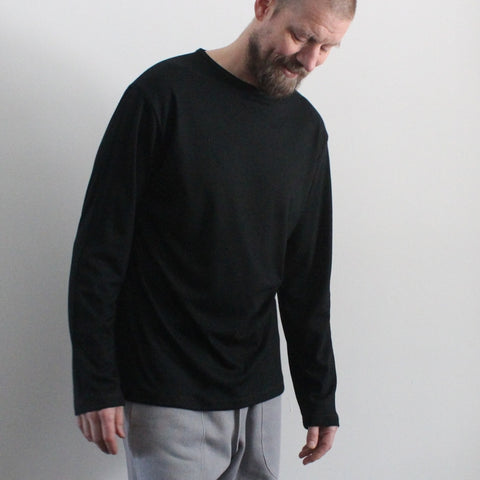 Black Bamboo Thicker Long Sleeved T-Shirts for Men