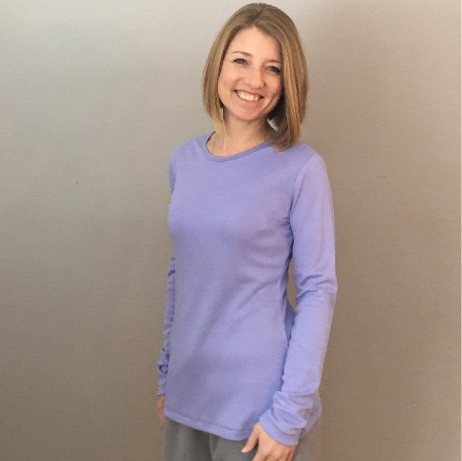 Bamboo Thicker Long Sleeved T-Shirts for Women in Lilac