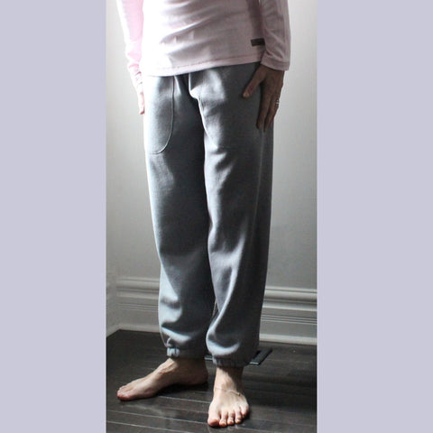 These are Pale Ash, not Pure White :-) We include this picture here so that you can see the fit of the classic track pants for women.