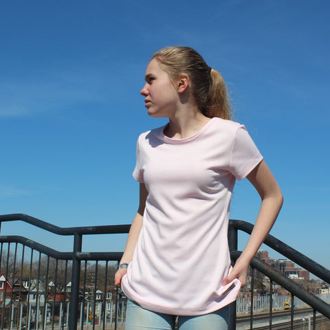 "Thicker Bamboo T-Shirts for Women<br> pictured here: <br>colour pale pink<br>size small and model is 5'5.5"" or 166cm"