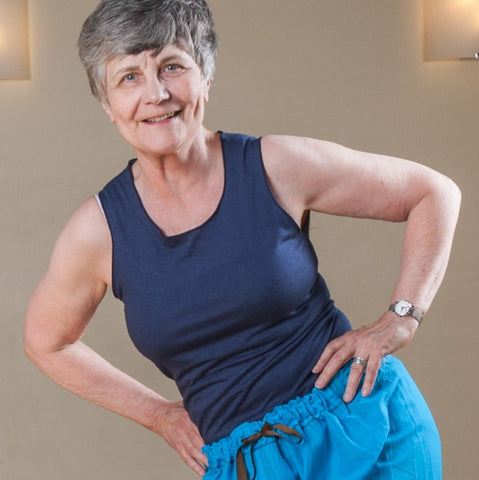 "Bamboo Tank Tops for Women in Cobalt Blue<br>Pictured here: Mary Walton-Ball  at <a href=""http://www.estheryoga.com"" target=""_blank"">Esther Myers Yoga Studio </a>in Toronto, Canada<br>Photography credit: Taralea Cutler of <a href=""http://archive.eyecontact.ca/portfolio"" target=""_blank"">Eye Contact Photography, Toronto </a>"