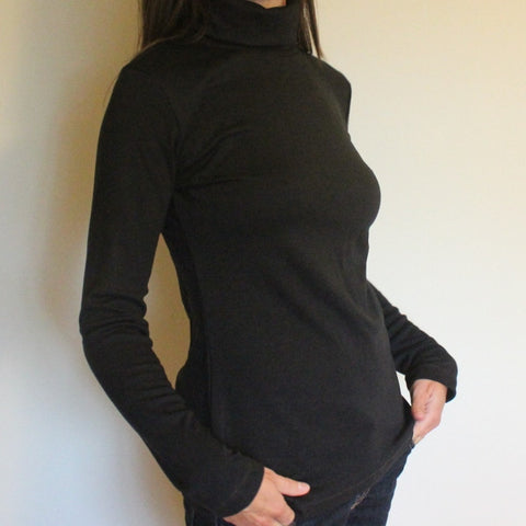 Bamboo Turtlenecks for Women in Black