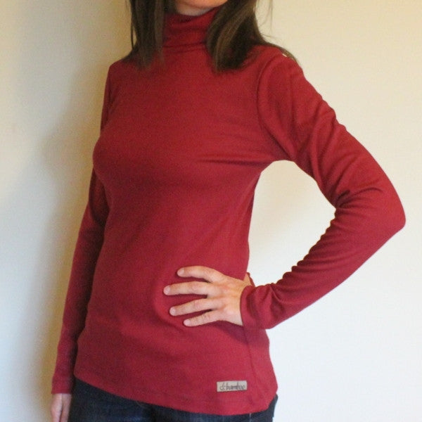 Bamboo Turtlenecks for Women in Burgundy