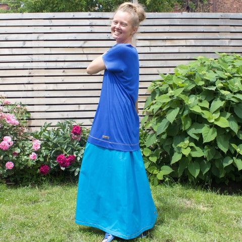 "Cotton Long Skirts in Ocean<br><a href=""/products/instant-elegance-relaxed-t-shirts-bamboo"" target=""_blank"">Instant Elegance Relaxed Tees </a>in Royal Blue"