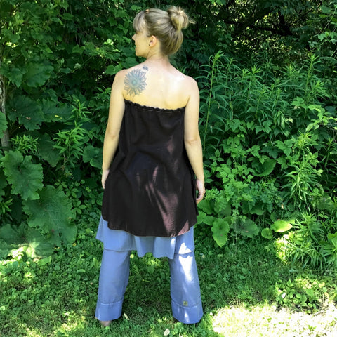 Light Weight Cotton Slip worn as a Halter Top in Darkest Espresso<br>Model Wears the slip as a halter top with the elastic tucked in at the side instead of around her neck. Slip and Original Dream Pants in Steel Blue.<br>Photo Credit: Jocelyn Connor