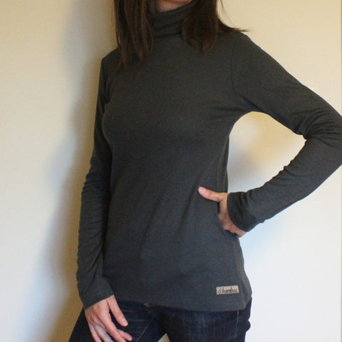 Bamboo Turtlenecks for Women in Dark Slate Grey