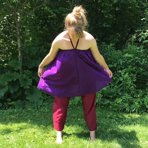 Light Weight Cotton Slip worn as a Halter Top in Grape, Maroon Original Dream Pants<br>Photo Credit: Jocelyn Connor