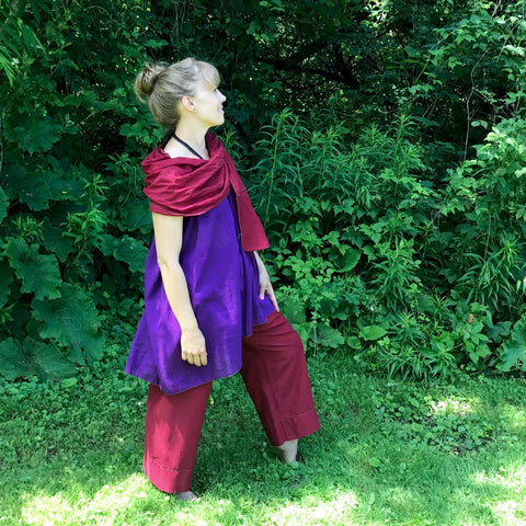 Light Weight Cotton Slip worn as a Halter Top in Grape, Maroon Original Dream Pants, Maroon Devinity Scarf<br>Photo Credit: Jocelyn Connor