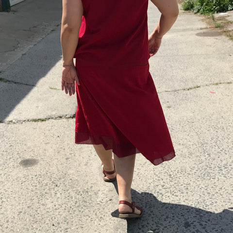 2 Light Weight Cotton Slips layered together as a skirt - shorter length in Deepest Red and longer length in Maroon, Reversible Sleeveless Top in Deepest Red