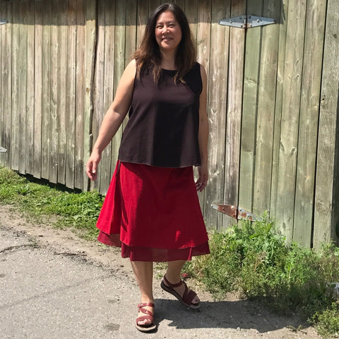 2 Light Weight Cotton Slips layered together as a skirt - shorter length in Deepest Red and longer length in Maroon, Reversible Sleeveless Top in Darkest Espresso with Amethyst on the inside