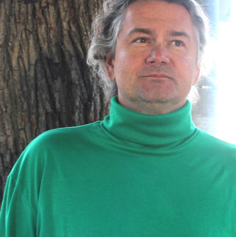 "Bamboo Turtlenecks for Men in Kelly Green - (showing ""turtle part"" rolled down once :)"