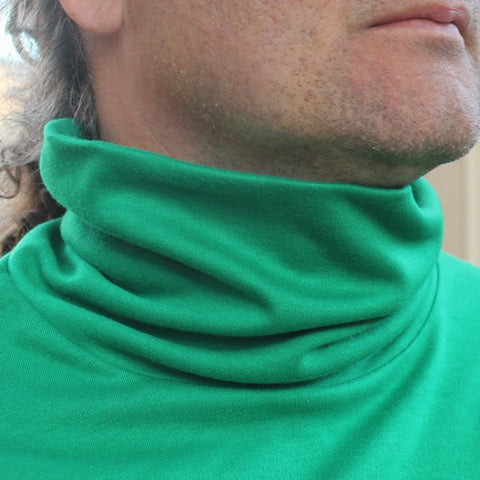 "Bamboo Turtlenecks for Men in Kelly Green - (showing ""turtle part"" not rolled down :)"