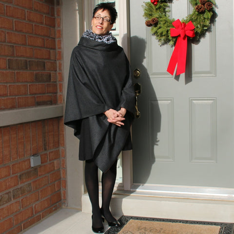"Charcoal Woolen Over-Mantle<br>Pictured here is Lydia Pollock, long-time DLD customer and yoga instructor who kindly sent us this picture last Christmas.<br><a href=""http://lydiayoga.com/index.html"" target=""_blank"">Lydia Yoga</a>"
