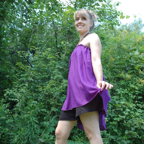 Light Weight Cotton Slip worn as a Halter Top in Grape, Black Knicker-Slip underneath<br>Photo Credit: Jocelyn Connor