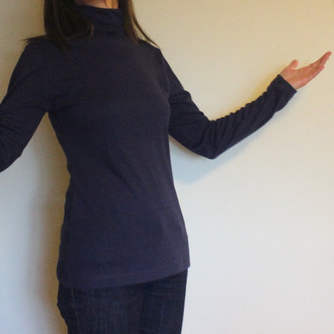 Bamboo Turtlenecks for Women in Navy Blue