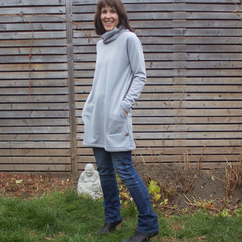 "Sherpa Fleece Turtleneck Sweater Dresses for Women in Pale Ash. Model is 5'8"" or 173cm tall."