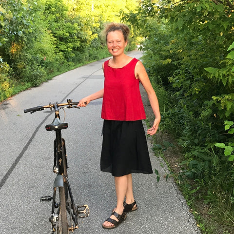 We took these pictures on the steps and with my bike (Rosie here) to show you how light weight a single slip is. I have my black knicker-slip underneath, so I don't care!!! ;-) Feeling lighter than a feather!
