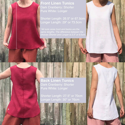 "Model is 5'5.5"" or 166cm  *All tunic sizes front and backs are the  same lengths. The difference between the  choices Shorter and Longer is 2.5"" or 6.5cm."