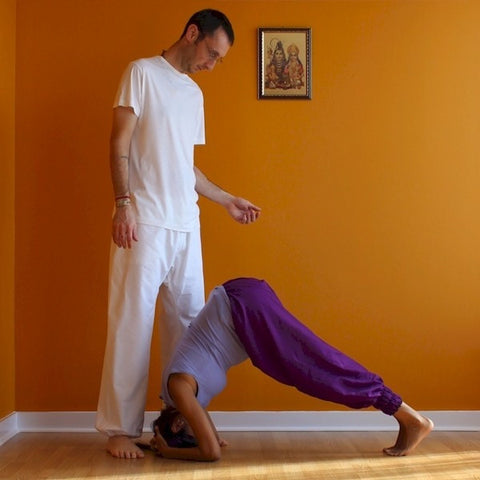 "Thicker Cotton Dream Pants: Loose-Fitting Yoga Pants for Men<br>Pictured here: Vasu (with Aarti) of <a href=""http://www.yogaasitis.com"" target=""_blank"">Yoga As It Is Centre </a>in Newmarket, Ontario"