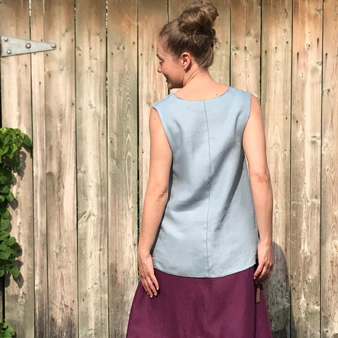 "SLEEVELESS TUNIC Colour/Size/Length: Antique Blue/Small/Shorter | Linen Long Skirt in Deep Plum | Model is 5'5.5"" or 166cm"