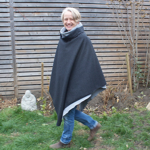 "2 Layers of DLD Versatility<br>Charcoal Woolen Over-Mantle worn with Pale Ash Sherpa Fleece Under-Mantle Underneath<br>Model is 5'1"" or 155cm."