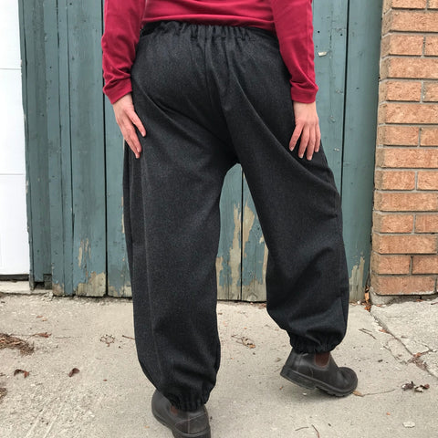 "Charcoal Woolen PANTALOONS | Regular-Cut, Length 1 | Model is 5'5.5"" or 166cm"